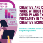 """Creative and cultural work without filters: Covid-19 and exposed precarity in the creative economy"""